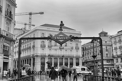La puerta del Sol, Madrid, Spain (loganemalie) Tags: madrid spain espagne europe traveleurope exploreeurope explore travel trip roadtrip rayanair holidays art blackandwhite betw photography canon canoneos eos metro metrodemadrid granvia buildings architecture city citylife cityscape cityexplore exploremadrid explorespain travelinspain