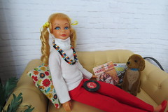 8. Relaxing with Brownie (Foxy Belle) Tags: room diorama doll house 16 scale miniature dollhouse mid vintage skipper barbie living dog pet sofa coffee table repainted ooak scrapbook paper plants scene handmade