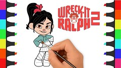 Wreck-It Ralph 2 Coloring Pages for Kids - Coloring Venellope Ralph - Ralph Breaks the Internet
