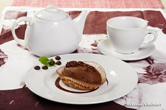 chocolate biscuit (Vitalfoto) Tags: cake chocolate dessert food sweet cup red background white closeup brown cakes small piece pastry delicious sugar fork plate cream molten homemade portion close jar