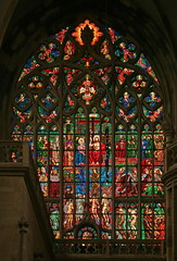 Stained Glass Window in St. Vitus Cathedral in Prague (Wolfgang Bazer) Tags: stainedglasswindow st vitus cathedral veitsdom buntglasfenster prague prag tschechien czechia max švabinský