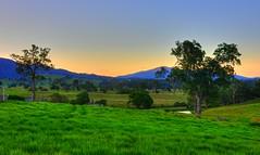Evening falls across farmland I (elphweb) Tags: hdr highdynamicrange nsw australia rural farm sunset farms farmland dairy mountain mountains range ranges