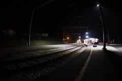 FDT 33.2 (EOS.5Dan) Tags: snow neige gare station suisse switzerland vaud genolier quai nuit night 5dmarkii facedown fdt fisheye canon canonef15mmfisheye