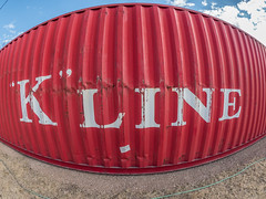 Fishy Conex (Thru Mikes Viewfinder) Tags: storage steel container conex red fisheye wideangle kline