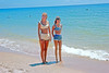Ektachrome Slide of Two Gals at Water's Edge, 1965 (StevenM_61) Tags: youngwomen beach swimsuits bathingsuits ocean water slide 1960s 1965 foundphotograph
