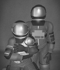 Outer Inner Space (v NaTaS v) Tags: space family sl secondlife art bnw black white suit spacesuit astronaut constelation baby portrait mask tent