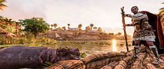 Caesar encounters his first hippopotamus in Assassin's Creed Origins Discovery Tour (mharrsch) Tags: ancient alexandria egypt ptolemaicperiod assassinscreedorigins discoverytour mharrsch caesar boat hippo reedboat hippopotamus