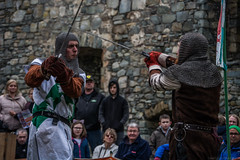 Owain vs Sebastian (Coed Celyn Photography) Tags: medieval reenactment harlech snowdonia north wales knight knights castle castell cadw history historic historical living larp battle armour armor fighting fight weapon weaponry weapons costume clothing outfit sir chainmail sword swords shield glave helmet