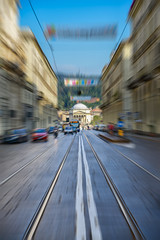 Get Me To The Church On Time (Claude Downunder) Tags: lines road leadinglines tram tramtracks tracks torino church granmadredidio viapo italy street cars speed blur vehicles