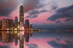 Skylight (UrbanCyclops) Tags: hongkong central skyline cityscape landscape mountains water harbour reflection architecture skyscraper tower building sky clouds sunset asia city urban metropolis lights evening dusk night island