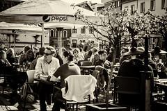 Cafe culture (David Feuerhelm) Tags: nikkor sepia monochrome candid street cafe city krakow poland nikon d750 2470mmf28