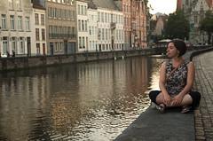 Meditation (damar47) Tags: portrait girl beauty peaceful peace bruges inbruges brugge belgium twilight dusk city cityview oldcity streetportrait streetview water pentax pentaxian pentaxk30 pentaxart