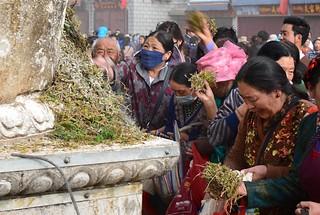 Crowds around an incense burner, Barkhor street, Tibet 2017