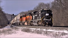 20W at Lilly (Images by A.J.) Tags: pennsylvania intermodal penn central bnsf double stack container west slope lilly pittsburgh line train rail railroad railway norfolk signal prr bridge position light laurel highlands transportation winter southern emd sd70ace heritage