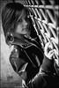 Elodie (pilou.basco) Tags: portrait face visage girl fille woman femme teen metallic metal cuir leather jacket veste blouson modèle model canon eos 400d 60mm noiretblanc blackandwhite nb bw monochrome 2012