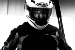 First Time For Everything (happad fotografie) Tags: bw black and white blackandwhite monochrome zwart wit zwartwit blackwhite guy brother helmet motor motorcycle lesson driver helm rijles portrait men nikkor nikon d610 2470