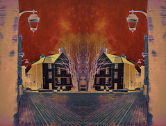 Red Sky (Rollingstone1) Tags: redsky building house architecture street fantasy vivid colour light lamp bowling scotland art artwork path bricks awardtree
