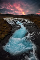 Turbulence (FredConcha) Tags: iceland waterfall bruarfoss turbulence fredconcha nikon d800 lee nature landscape colors sunset clouds river blue
