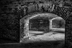 Fort Macon NC Arches 3 In Monochrome (Modkuse) Tags: monochrome fortmacon fortmaconnc fort arches ni bricks nikon northcarolina nc nikondslr nikond700 historical history bw blackandwhite interior