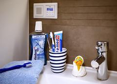 Zahnpflege (ingrid eulenfan) Tags: badezimmer bathroom brushteeth zähne putzen handtuch towel rubberduck quietscheente zahnbürste becher stillleben stilllife radio musik blau blue morning morgens sonye30mmf35