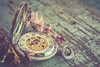 let's not forget... (Ayeshadows) Tags: pocket watch cheery dry flowers textured table top vintage roman numbers