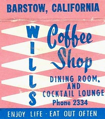 WILLS Coffee Shop Barstow (hmdavid) Tags: vintage matchbook matchcover midcentury art illustration advertising