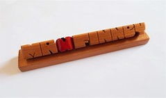Teacher's Apple Desk Name in Cherry Wood (DustyNewt Scott) Tags: teacher school apple wood wooden woodworking name keychain handmade desk plaque office deskname cherry mrfinney