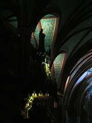 Notre Dame Cathedral, Montreal, Quebec (duaneschermerhorn) Tags: architect architecture dark interior indoors arch arches statue statuary green church cathedral worship god