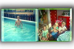 Two in-sequence shots from Instamatic camera negative film. Summer, Timaru c.1987 (jasoux) Tags: timaru nz newzealand instamatic kodak 1987 1980s analogue nondigital canterbury summer swim swimming