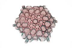 Tessellation T-est 2 (Marjan Smeijsters) (De Rode Olifant) Tags: marjansmeijsters origami paper paperfolding tessellation 3d tessellationtest2 test2 hexagon grid pattern triangle