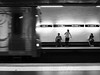 The train is coming ... (Klaus Wessel) Tags: olympus omd 19mm mft blaclwhite bw monochrome street streetlife portugal zug ubahn underground train bahnsteig lissabon menschen bewegungsunschärfe
