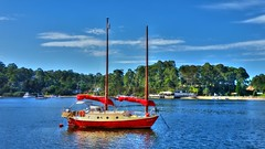 Three views of a yacht II (elphweb) Tags: hdr nsw australia phone phonecamera yacht boat ship river coast sea ocean red beige yellow water bay sunny blue