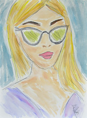 """Lady in Sunglasses"" - by Me (BKHagar *Kim*) Tags: bkhagar art artwork artday paint painting watercolor watercolour sketch 3minutesketch girl woman lady sunglasses model bykim"