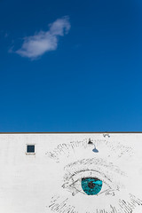 The minimal eye (ovajanel) Tags: minimal minimalism minimalist art contemporary ciel sky blue clouds window creative eye shades imperfection simplicity photowalk street city urban graffiti architecture lines design new white tamrom light sunshine wall
