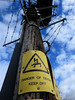 Climbed this greasy pole before breakfast this morn (davefree99) Tags: danger death mort electricity pole wires ac dc