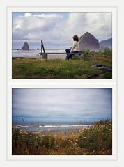 now and forever (chickentender™ (Eyewanders Foto)) Tags: 1981 2017 kodak nikon oregon beach cannonbeach cascadia coast contaxtt2 diptych eyewandersfoto film fuichrome kalaloch light memory mom more mother nikkormat slide theseareafewofmyfavoritethings velvia100f washington kodacolorii c41 colornegative postive thenandnow comparing