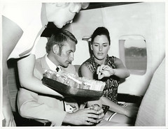 Passengers being served light refreshments on board a Boeing 737 jet. Wellington (Archives New Zealand) Tags: archivesnewzealand archives archivesnz nationalpublicitystudios aotearoa tourism newzealand newzealandhistory nz nzhistory history