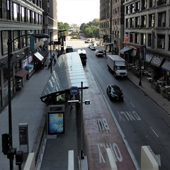 "Chicago, New Washington ""El"" Station Platform, Looking East to Millennium Park (Mary Warren 10.1+ Million Views) Tags: chicago city urban downtown street cityscape architecturre building station cta busstop cars millenniumpark washingtonstreet reflection"