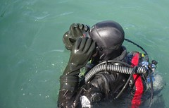 Mask Adjusting (chemsuiter) Tags: diver drysuit marina cleanupdive