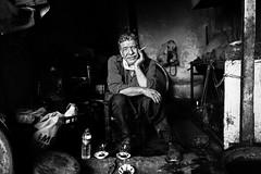 Cigarette pause in Diyarbakir (Giulio Magnifico) Tags: civilwar leicaq leica iraq cool kurdistan oldcity turkey pause naturallight streetphotography old diyarbakir candid kurdish deepsoul iraqi elder iraqturchia middleeast blackandwhite city cigarette ancient citylife bw happiness smoke 28mm work worker