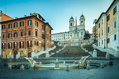 Spanish Steps (Jakub Slovacek) Tags: europe fontanadellabarcaccia italia italy lazio obeliscosallustiano piazzadispagna roma rome spanishsteps architecture building church city cityscape fountain historical landmark longexposure morning obelisk square staircase stairway steps tiltshift sunrise ngc