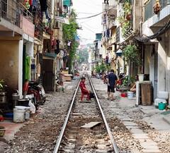 Train street, Hanoi (Hammerhead27) Tags: close view tourist life people vietnamese vietnam hanoi living local house tracks railroad rail street