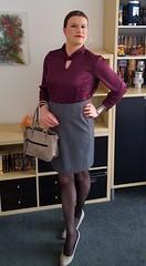 Turtleneck Satin Blouse (Rikky_Satin) Tags: silk satin blouse pencil skirt pumps pantyhose crossdresser transvestite transgender tgirl tgurl gurl transformation transformed m2f mtf
