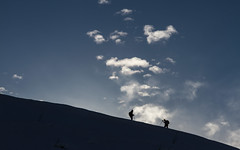Allez, courage ! (Come on, don't lose heart ! ) (Larch) Tags: pente agy hautesavoie france sky mountain nuage cloud courage dontloseheart silhouette alpes alps