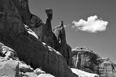 Shadow Side (NaturalLight) Tags: rock sculpture shadow monochrome bw archesnationalpark utah