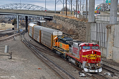 "Southbound Local in Kansas City, MO (""Righteous"" Grant G.) Tags: bnsf atsf santa fe ns norfolk southern ge emd power warbonnet south southbound local transfer freight kansas city missouri yard job"
