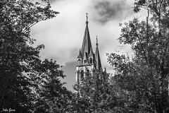 La torre (Jotha Garcia) Tags: covadonga asturias españa spain sky blancoynegro blackwhite tree building nubes clouds jothagarcia nikond3200 september septiembre verano summer 2017 principadodeasturias unmundoenblancoynegro