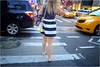 Stripes Go With Everything (Steve Lundqvist) Tags: new york usa states united america manhattan stati uniti travel trip viaggio girl ragazza model urban city urbanscape ny nyc persone fashion moda mood attractive beauty stripes streetphotography zebra crossing street road juxtaposition juxta skirt fujifilm x100s back rear strada