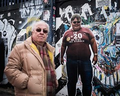 You've Come a Long Way Baby (XBeauPhoto) Tags: briicklane fujx100f london x100f anniversary candid citylife elderlyman fatboyslim juxta juxtaposition popart streetlife streetphoto streetphotography