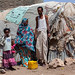 Somali family living in a slum hut made of corrugated iron and canvas, Woqooyi Galbeed region, Hargeisa, Somaliland